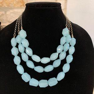 Chunky Light Blue Multistrand Beaded Necklace